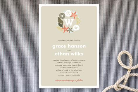 Seaside Initial Wedding Invitations