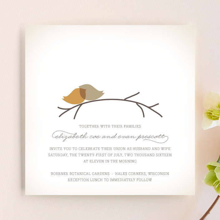 """Nestled"" - Wedding Invitations in Pumpkin Spice by Design Lotus."