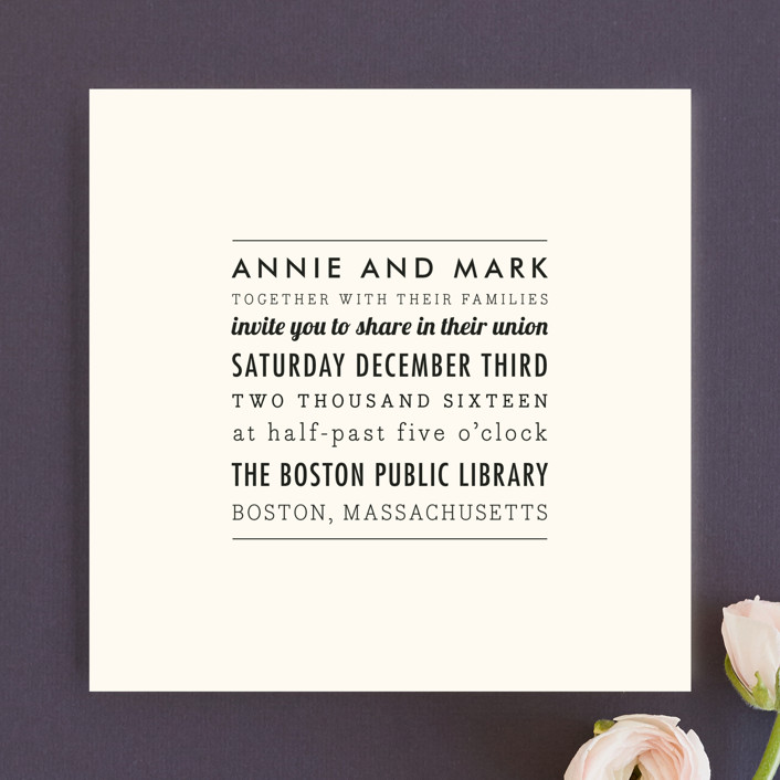 """The Square Types"" - Modern, Simple Wedding Invitations in Creme by Design Lotus."