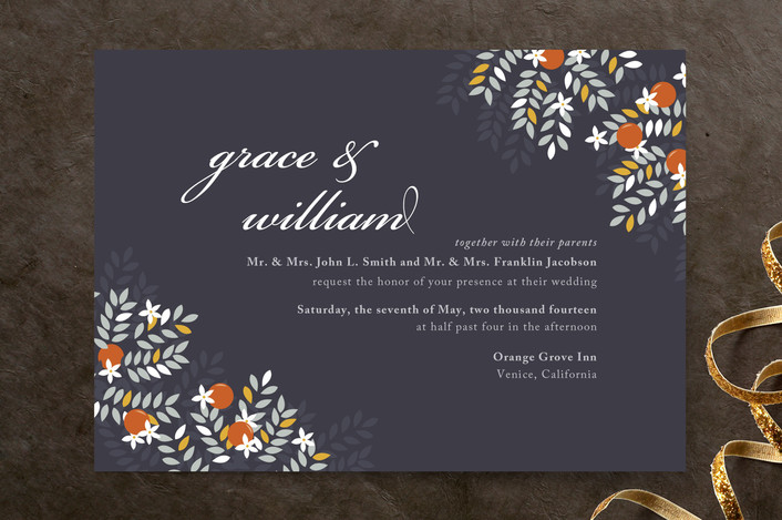 """""""Orange Blossoms"""" - Floral & Botanical Wedding Invitations in Midnight by Snow and Ivy."""