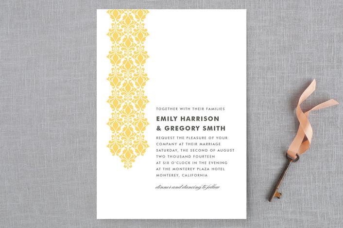 """Damask Waterfall"" - Modern Wedding Invitations in Lemon Yellow by Jill Means."