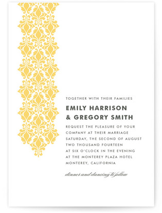 Damask Waterfall Wedding Invitations