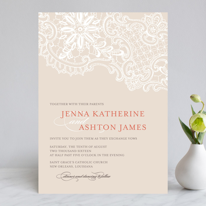 """""""White Lace"""" - Vintage, Formal Wedding Invitations in Coral Rose by Lauren Chism."""