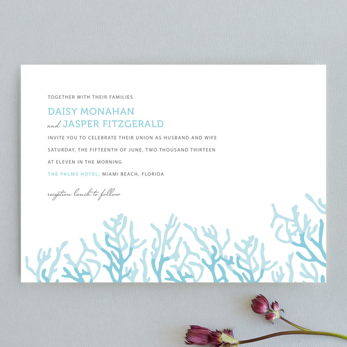 """Simple Coral"" - Beach Wedding Invitations in Aqua Blue by SimpleTe Design."