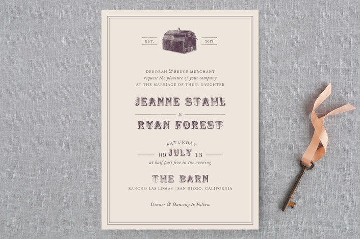 """""""The Barn"""" - Rustic, Vintage Wedding Invitations in Eggplant by The Social Type."""