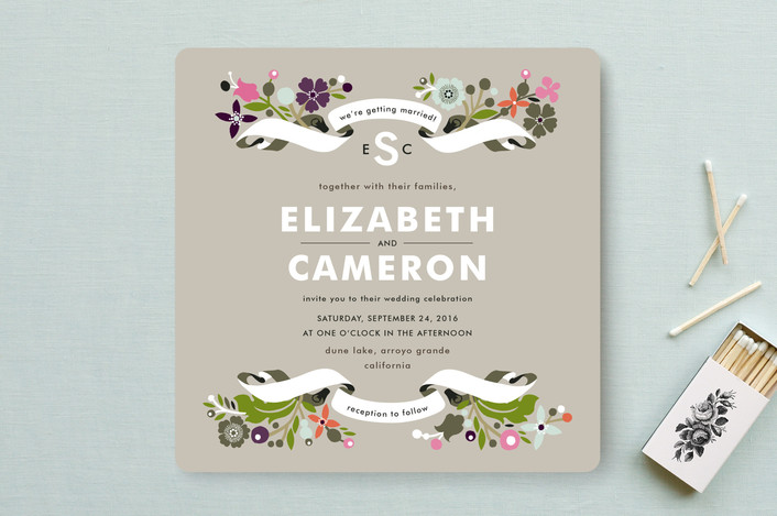 """""""Banner and Branches"""" - Floral & Botanical, Rustic Wedding Invitations in Clay Pebble by Alethea and Ruth."""