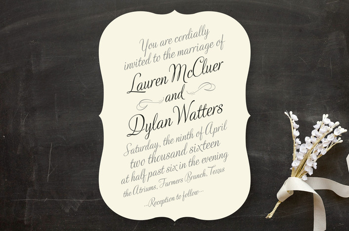"""Just My Type"" - Classical, Vintage Wedding Invitations in Tuxedo by Ann Gardner."