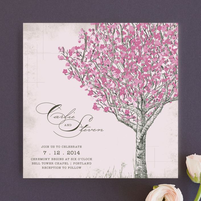 """Cherry Blossom"" - Rustic Wedding Invitations in Sweet Cherry by Jenifer Martino."