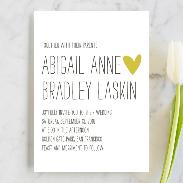 """Passing Notes"" - Whimsical & Funny, Simple Wedding Invitations in Mustard Seed by annie clark."