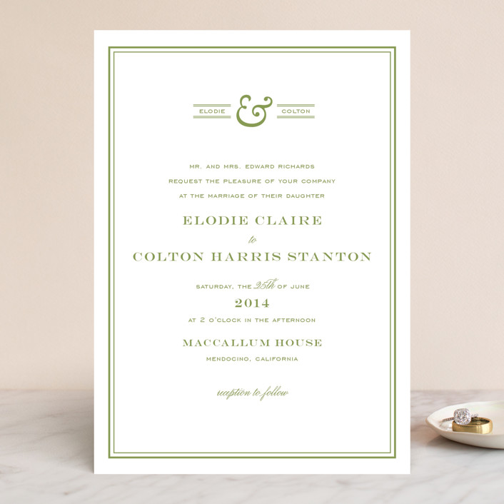 """""""Country Club"""" - Simple, Preppy Wedding Invitations in Spring Green by annie clark."""