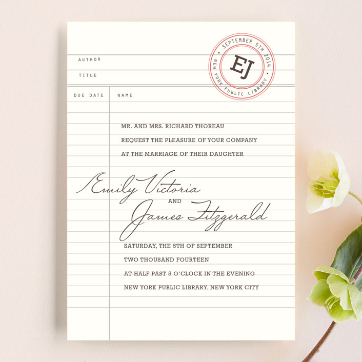 """""""Library"""" - Vintage Wedding Invitations in Soft Ruby by annie clark."""