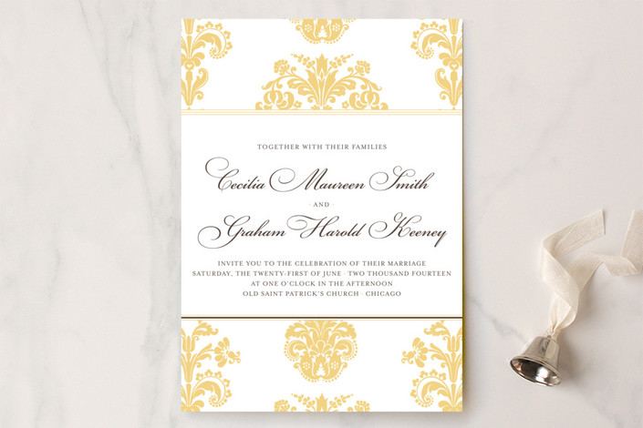 """Float + Bridal Brocade"" - Classical Wedding Invitations in Buttercup by Float Paperie."