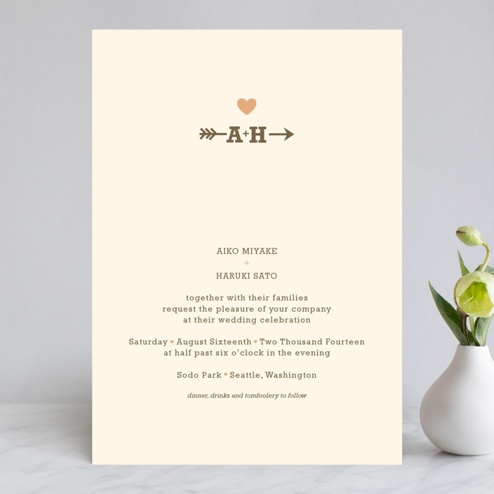 """Love Struck"" - Rustic, Simple Wedding Invitations in Pale Salmon by The Social Type."