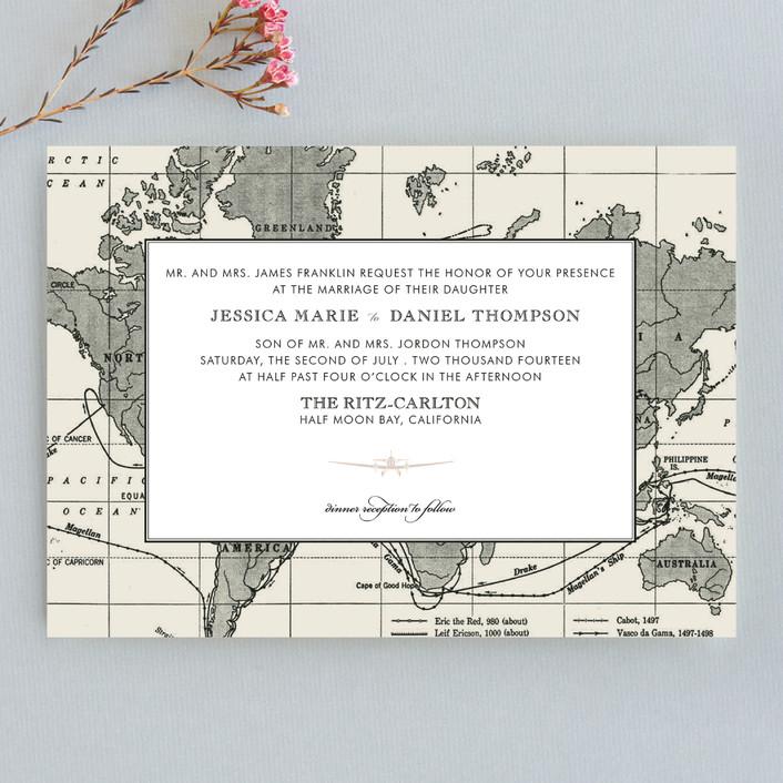 """""""Edenbridge"""" - Destination, Vintage Wedding Invitations in Light Cream by Dauphine Press."""