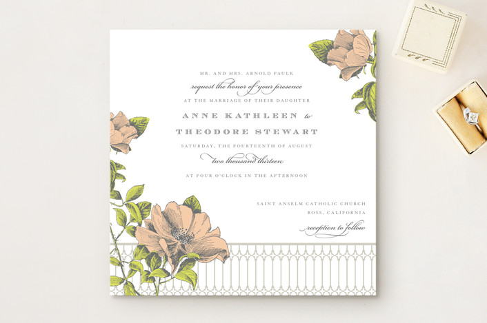 """Flore"" - Floral & Botanical Wedding Invitations in Tea Rose by Dauphine Press."