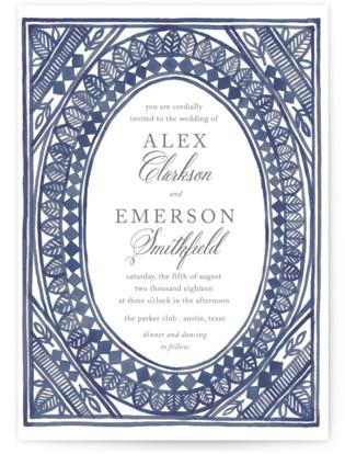 Ornate Watercolor Frame Wedding Invitations