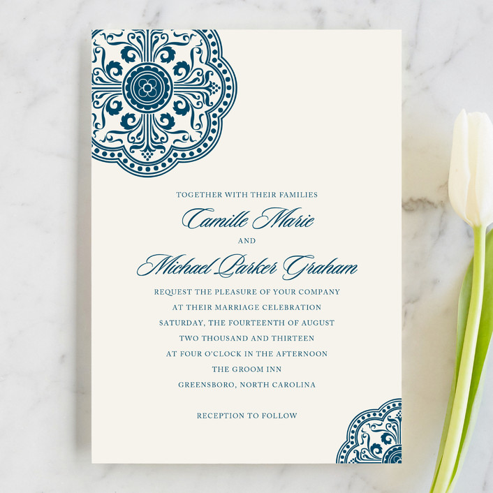 """Ornamental"" - Vintage Wedding Invitations in Sapphire by Paperview Designs."