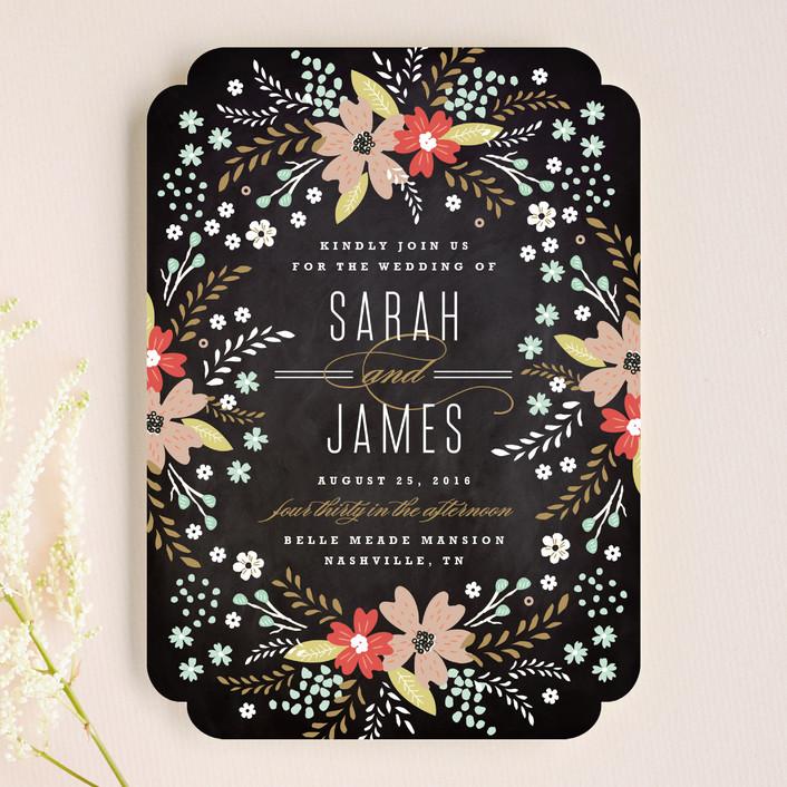 """Chalkboard Floral"" - Floral & Botanical, Rustic Wedding Invitations in Peony by Kristie Kern."