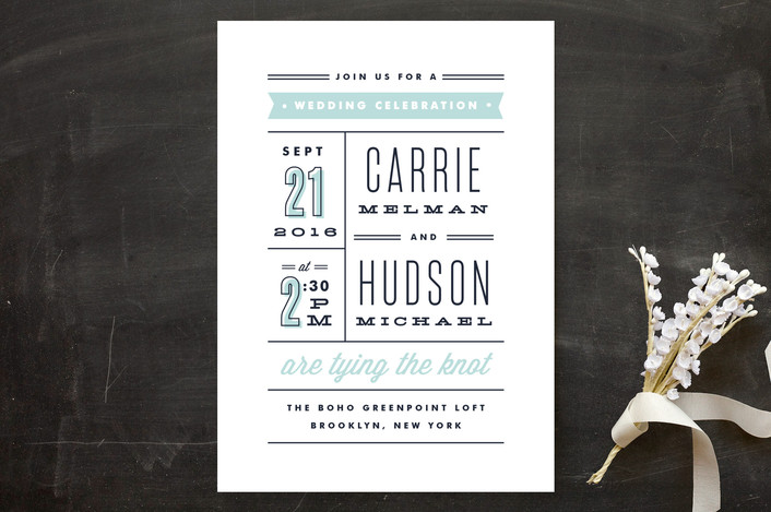 """""""Posted"""" - Modern, Bold typographic Wedding Invitations in Sea by Kristie Kern."""