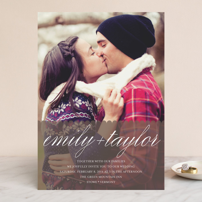 """""""Sweet Scallop"""" - Classical, Full-Bleed Photo Wedding Invitations in Taupe by annie clark."""