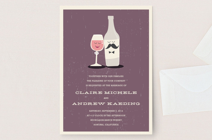 """Little Wine Charmers"" - Winery, Whimsical & Funny Wedding Invitations in Grape by Coco and Ellie Design."