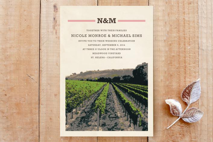 """St. Helena"" - Winery, Monogrammed Wedding Invitations in Strawberry by Alex Elko Design."