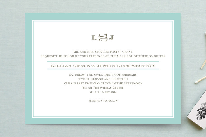 """Classic Prep"" - Monogrammed, Classical Wedding Invitations in Sky Blue by annie clark."