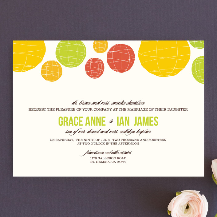 """Summer Lanterns"" - Modern Wedding Invitations in Key Lime by Design Lotus."