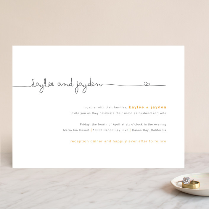"""The Happy Couple"" - Modern, Simple Wedding Invitations in Tangerine by R studio."