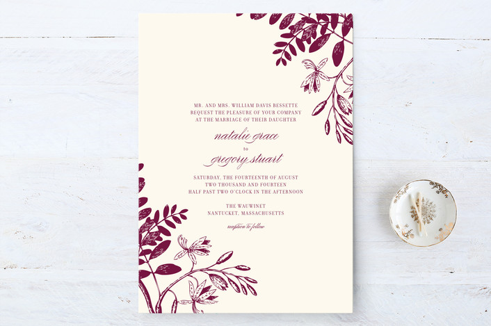 """""""Tuileries"""" - Floral & Botanical, Classical Wedding Invitations in Deep Purple by beth perry DESIGN."""