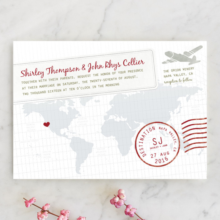 """""""A Faraway Destination"""" - Destination, Whimsical & Funny Wedding Invitations in Deep Red by bumble ink."""