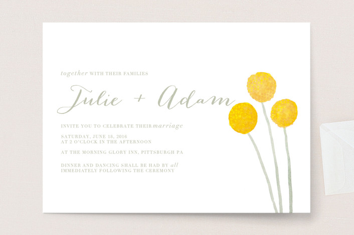 """""""Billy Ball"""" - Floral & Botanical Wedding Invitations in Sage by Penelope Poppy."""