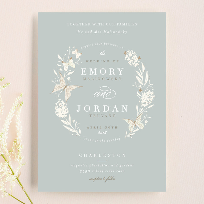 """Butterfly Garden"" - Floral & Botanical, Rustic Wedding Invitations in Bluebird by Lori Wemple."