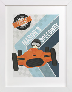 Retro Speedway Children's Custom Art Print