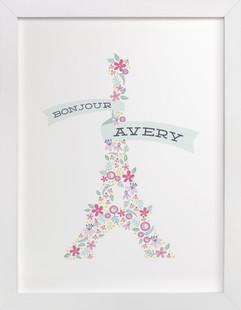 Bonjour Ma Fleur Children's Custom Art Print