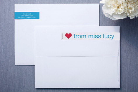 Blue and White Skinnywrap™ Address Labels