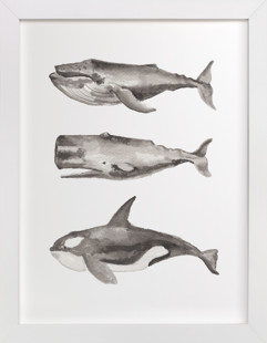 Three Stacked Whales Children's Art Print