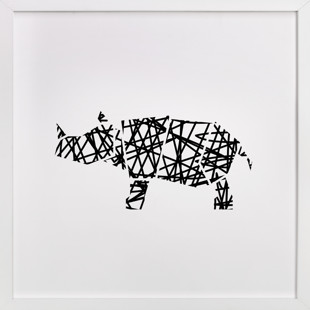 Modern Abstract Scribble Rhino Children's Art Print