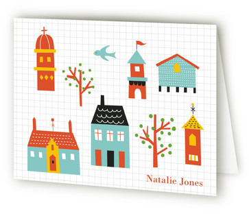 Little Town Folded Children's Stationery