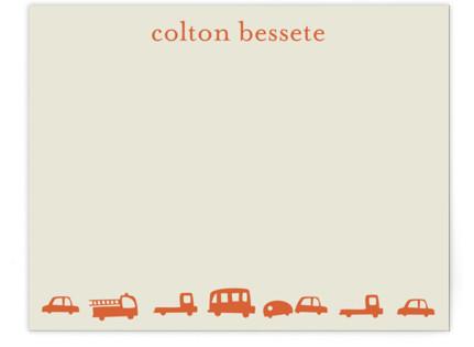 Orange Cars Children's Personalized Stationery