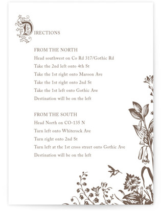 Storybook Letterpress Directions Cards