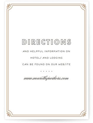 Modern Deco Letterpress Directions Cards