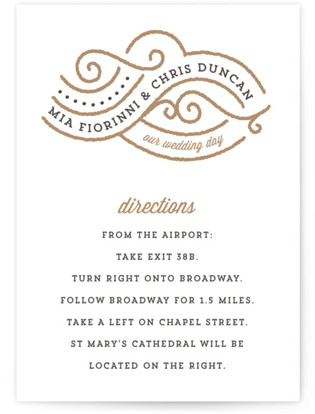 Linea Letterpress Directions Cards
