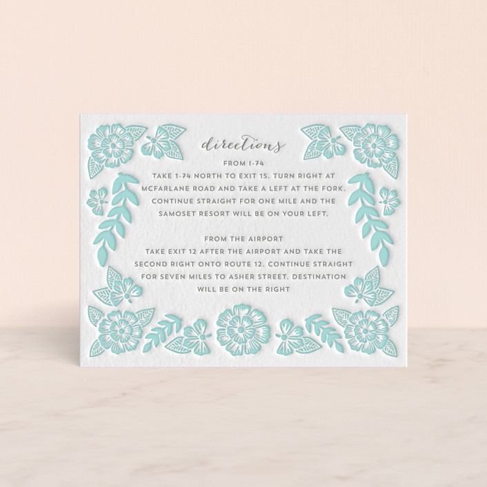 """""""Folk Floral"""" - Letterpress Directions Cards in Sea by Katharine Watson."""