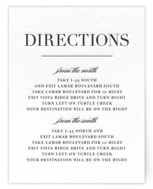 Classic Letterpress Directions Cards