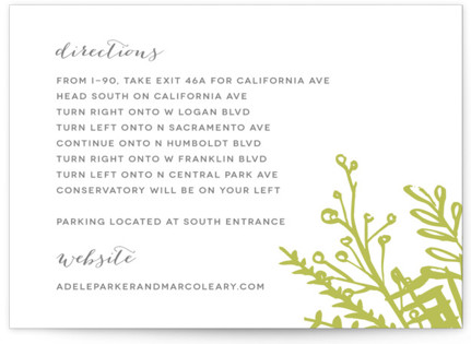Garden Letterpress Directions Cards
