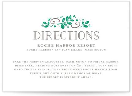 Botanical Letterpress Directions Cards
