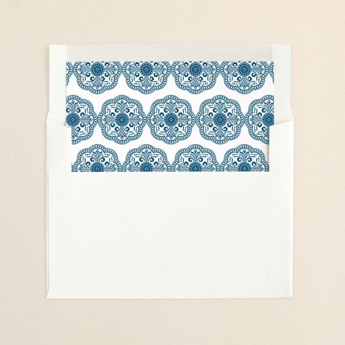 """Ornamental"" - Slip-in Envelope Liners in Sapphire by Paperview Designs."