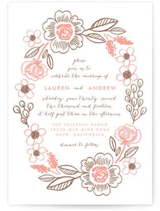 Botanical Wreath Letterpress Wedding Invitations