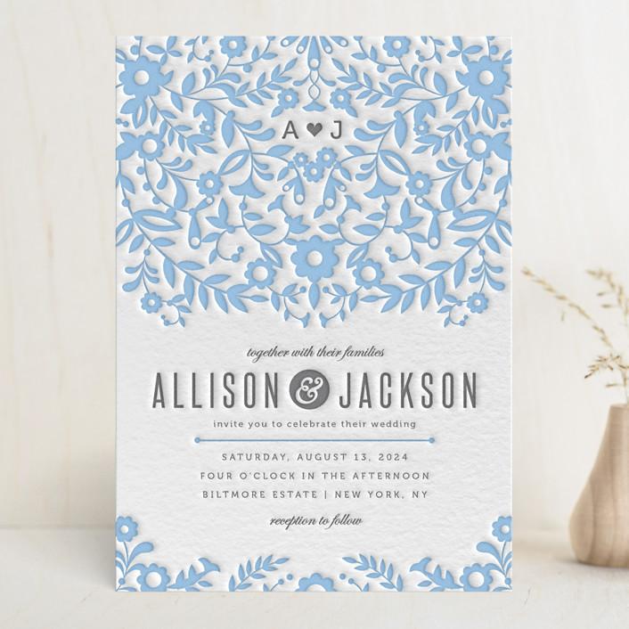 """Paper Flowers"" - Monogrammed, Rustic Letterpress Wedding Invitations in Sky Blue by Kristen Smith."